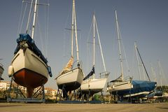 Boats on dry Stock Photography