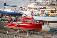 Boats in Dry Dock, Kusadasi, Turkey. Many boats in dry dock in the marina at Kusadasi, Turkey Royalty Free Stock Images