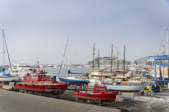 Boats in Dry Dock, Kusadasi, Turkey. Many boats in dry dock in the marina at Kusadasi, Turkey Royalty Free Stock Photo