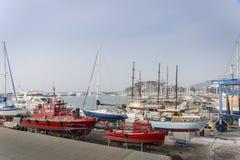 Boats in Dry Dock, Kusadasi, Turkey Royalty Free Stock Photo