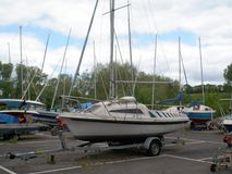 Boats in Dry Dock. Many sailing craft safely waiting in dry dock Stock Photos