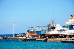 Boats in dry dock, Mellieha. Boats in dry dock in the harbour, Mellieha, Malta, Europe Stock Photography