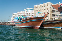 Boats on Dubai creek. Boats moored in Dubai creek. They are made with wood and used for transport and living Stock Photography