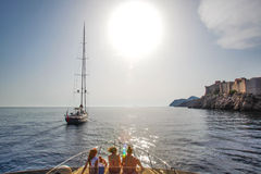 Boats at Dubrovnik coast. Boats sailing near Dubrovnik coast Stock Images