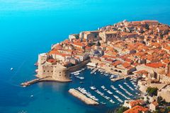 Boats at Dubrovnik old town port Royalty Free Stock Image
