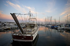 Boats at dusk Royalty Free Stock Image