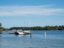 Boats on East Gull Lake in Minnesota. These are boats near the shore of East Gull Lake in Minnesota Stock Photos