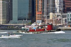 Boats in East River, New York City Stock Photography