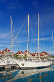 Boats at Eden Island marina,  Mahe, Seychelles Stock Photography