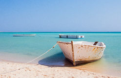 Boats on the Egyptian beach stock images
