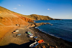 Boats in El Golfo Lanzarote Royalty Free Stock Image
