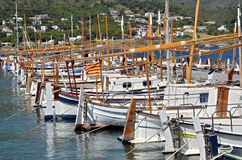 Boats at El Port de la Selva in Spain Stock Images