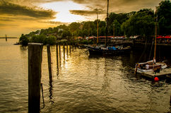 Boats on the elbe in Hamburg Germany Stock Images