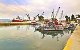 Boats at Eleusis port Greece stock photos