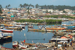 Boats in Elmina harbour Stock Image