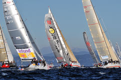 Boats engaged in the race Royalty Free Stock Photo