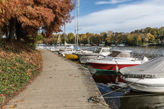 Boats on the Erdre river dock Stock Photography