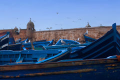 Boats in Essaouira Harbour, Morocco Stock Image