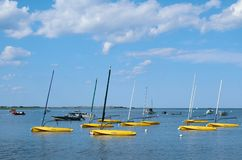Boats in Essex River. Boats in the Essex River, Essex, MA, on a clear summer day royalty free stock photos