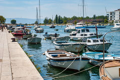 Boats for excursions. Standing at the pier royalty free stock images