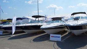 Boats Exhibition. The forth edition of the international yacht exhibition, Romanian Boat Show, took place between 6 and 10 May in the commercial area of Baneasa Royalty Free Stock Photo