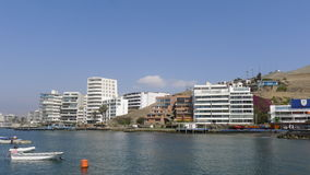 Boats and exterior modern buildings in Ancon Royalty Free Stock Photography
