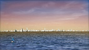 Boats far away in the sea stock video footage
