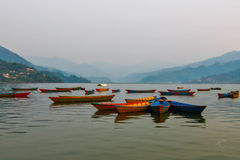 Boats in Fewa Lake Royalty Free Stock Images