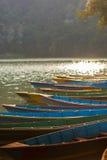 Boats at Fewa Lake, Pokhara Stock Images