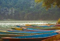 Boats at Fewa Lake, Pokhara Royalty Free Stock Images