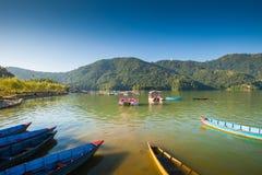 Boats at Fewa Lake, Pokhara Stock Photo