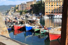 The boats of the fishermen of Camogli Stock Photography