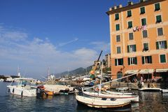 The boats of the fishermen of Camogli Stock Photo