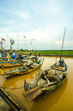 Boats Fishermen Indonesian people on the river downstream. Stock Photo