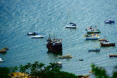 Boats in the Fishermen`s Corner. In the city of Itapema, together you can see the boat pirada tourist attraction Stock Images