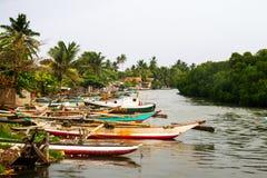 Boats at fishermen village in Negombo, Sri Lanka Royalty Free Stock Images