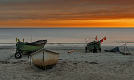 Boats of fishernen at early morning Stock Photos