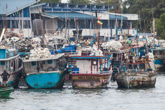 Boats fishing in the famous harbor of Negombo. NEGOMBO, SRI LANKA. July 20, 2016: Boats fishing in the famous harbor of Negombo, towns near Colombo, capital of Stock Photo