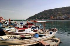 Boats fishing in the harbor of Alanya Royalty Free Stock Photos