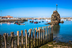 Boats in the fishing port from Cudillero, Asturias, Spain. Stock Images