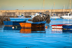 Boats in the fishing port from Cudillero, Asturias, Spain. Royalty Free Stock Photography