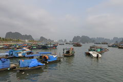Boats in the fishing port in Ha Long Bay, Vietnam Royalty Free Stock Photos