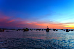 Boats fishing sea sky Royalty Free Stock Photography
