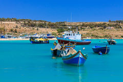 Boats in the fishing village. Captured on Malta island royalty free stock images