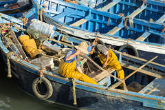Boats in fishing village. Essaouira, Morocco Royalty Free Stock Photography