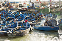 Boats in fishing village. Essaouira, Morocco Royalty Free Stock Photos