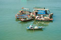 Boats in a fishing village, Vietnam Stock Photography