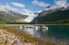 Boats, fjord and glacier Royalty Free Stock Photography