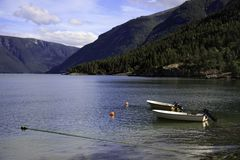 Boats on the fjord, Norway Royalty Free Stock Photos