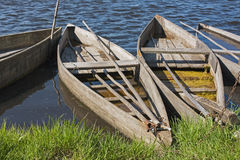 Boats with flat bottom of Pateira Stock Photos